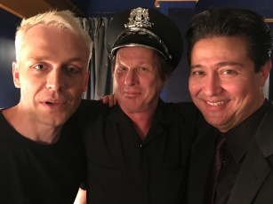 Mr. Hudson, Adrian Belew, Ron Dziubla getting ready to rock the Wiltern, Los Angeles, CA.