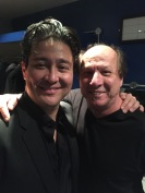 Adrian Belew and Ron Dziubla, backstage at Brixton Academy, London. January 8, 2017