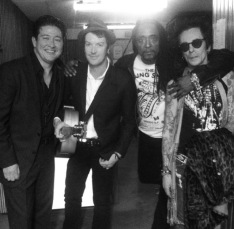 Ron Dziubla, Chris Cheney, Bernard Fowler, Earl Slick backstage at the Sydney Opera House.